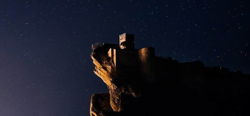 View of the Castle of Roccascalegna at night